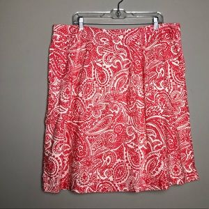Land's End red white paisley skirt